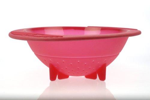 Orka 5-Quart Silicone Colander/Steam Basket, Raspberry