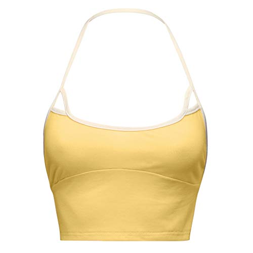 Sexy Women's Bandage Tank Top Strappy Cut Out Bra Bustier Blouse Camisole S-XL (Yellow, XL)