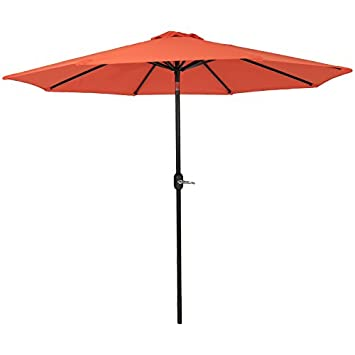 Sunnydaze 9-Foot Outdoor Patio Umbrella with Fade Resistant Umbrella Canopy, Auto Tilt Crank, Rust Resistant Aluminum, Burnt Orange