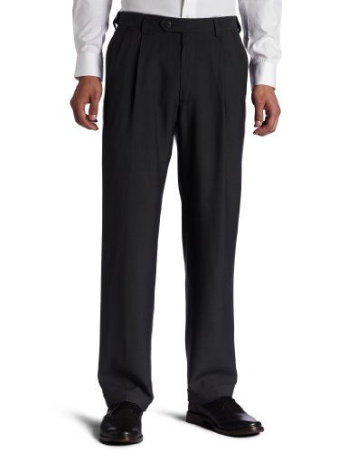 Haggar Men's Big-Tall Repreve Stria Pleat Front Dress Pant, Medium Grey, (Cuffed Dress Pants)