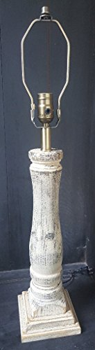 (Country Wood Spindle Table Lamp, Primitive Distressed Old Parchment Farmhouse Style)