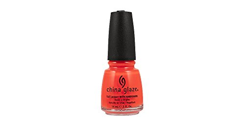 China Glaze Nail Lacquer, Neon Orange Knockout, 0.5 Fluid Ounce