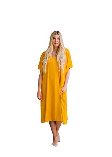 Undercover Mama House Dress 24-7 Maternity & Nursing Nightgown (Petite, Mustard) ()
