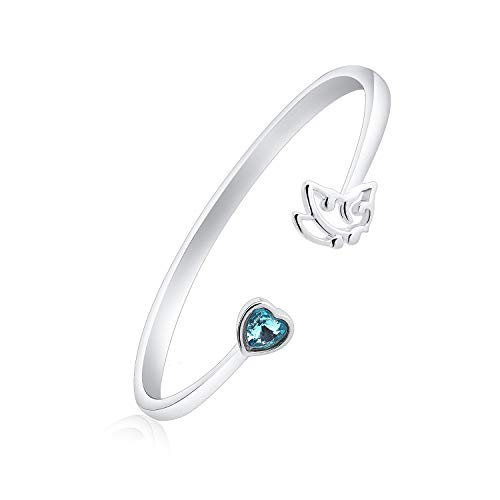 KUIYAI My Story isn't Over Yet Semicolon Butterfly Cuff Bracelet with Blue Zircon Stone Suicide Prevention Jewelry (Bracelet s) ()