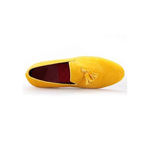 Tassel di Appartamento 25 Mocassini Scivolare Scarpa 39 Velluto CM Gold Uomini Gli 40 Yellow EU Britannico con Stile su Velvet 7wzSxq