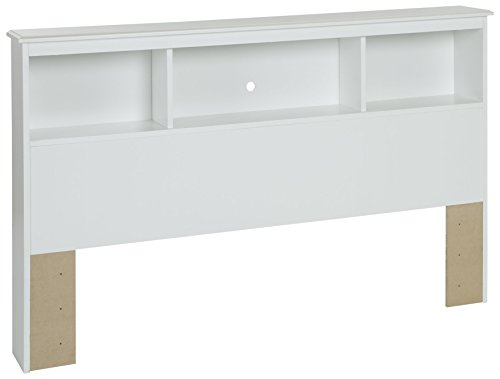 (South Shore Crystal Bookcase Headboard with Storage, Full 54-inch, Pure White)