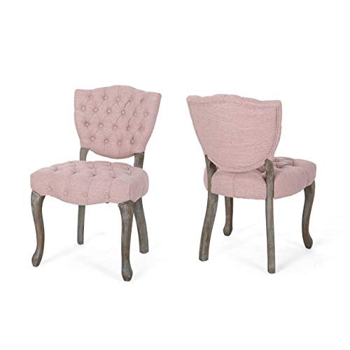 - Case Tufted Dining Chair with Cabriole Legs (Set of 2), Light Blush and Brown Wash Finish