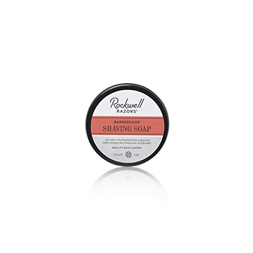 Rockwell Shaving Soap - Barbershop Scent - All-Natural with Coconut Oil, Shea Butter and Wheat Protein for a Rich & Thick Lather for All Skin and Stubble Types - 4oz