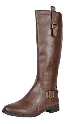 TOETOS Women's Sam Brown Faux Leather Knee High Winter Riding Boots Wide Calf Size 10 M US