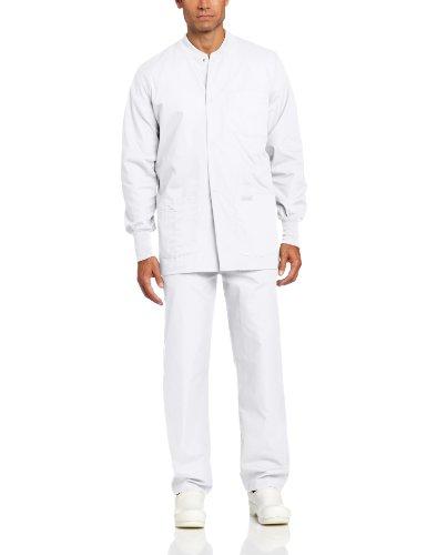 Landau Men's Premium 4-Pocket Classic Fit Warm-Up Medical Scrub Jacket, White, Large