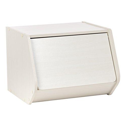 IRIS TACHI Modular Wood Stacking Storage Box with Door, Off White (Box Storage Wood)