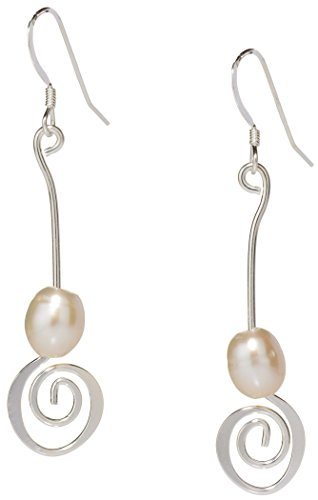 Handmade Pearl Spiral Earrings, Of Earth and Ocean Collection, Freshwater Pearls and Silver Plated