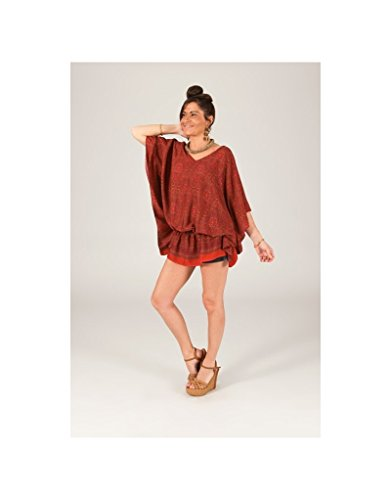 Modeincoton - Efecto de escote en v Dolman amplia túnica manga ancha Modeincoton TUPP020 Multicolor