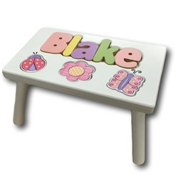 Garden Stool Finish (Personalized Garden Wooden Puzzle Stool- Stool Color: White, Letter Color: Pastel, 1-8 Letters)