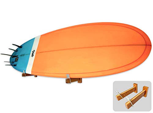 StoreYourBoard Naked Timber Surfboard Wall Mount, Wooden Display Rack