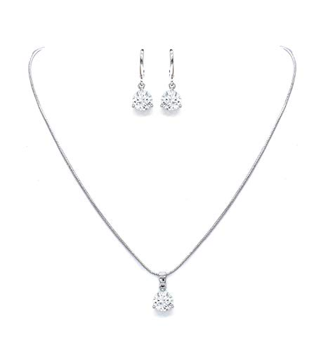 DUOC Round Zircon Crystal Wedding Party Prom Bridal Necklace and Earrings Jewelry Set (Silver)
