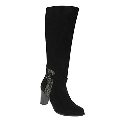tessamino Damen Stiefel | aus Echtleder | Warmfutter | Funktionsgummizug Schwarz