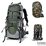 FOME Hiking Backpack, 45L+5L Unisex Camping Backpack Outdoor Sport Nylon Water-resistant Backpacking Backpack Bag with Rain Cover for Outdoor Climbing Travel Mountaineering