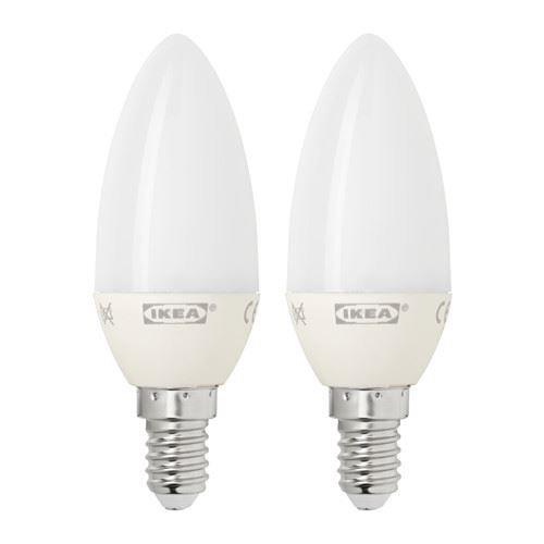 IKEA Bombilla LED E14, Blanco 2 Unidades