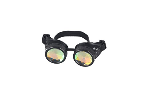 Kaleidoscope Rave Goggles Steampunk Glasses with Rainbow Crystal Glass Lens 4