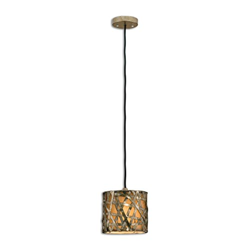 Woven Metal Strips Contemporary Mini Pendant Light | Hanging Shade Modern Bronze Silver