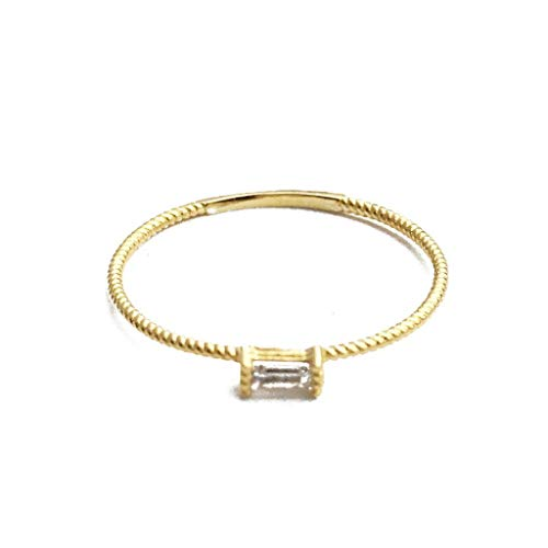 HONEYCAT Tiny Baguette Crystal Ring in 24k Gold Plate | Minimalist, Delicate Jewelry (Twist/G/5) ()