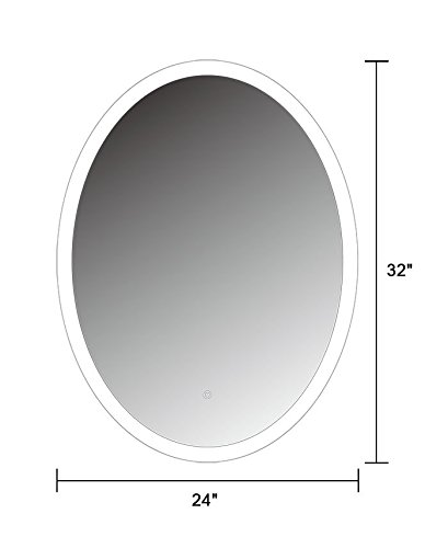 24 x 32 In Vertical Oval LED Wall Mounted Backlit Vanity Bathroom LED Lighted Mirror with Touch Button (CL054)