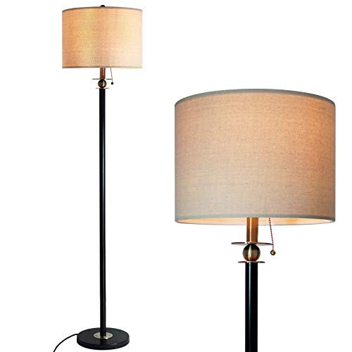 - Floor Lamp for Living Room, Modern Standing Lamp with Hanging Drum Shade, Thickened Tall Pole Lamp for Office with Pull Chain and Floor Switch (Black)