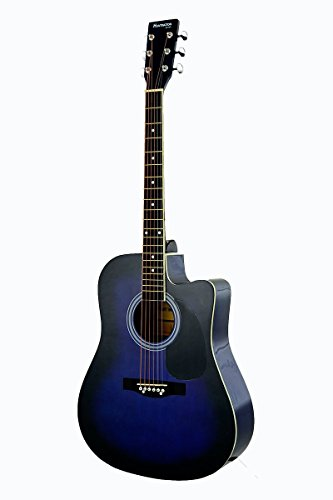 Full Size Blue Cutaway Acoustic Guitar - & DirectlyCheap(TM) Translucent Blue Medium Guitar Pick (PRO-A Series) [Teacher Approved]
