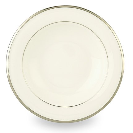 Lenox Solitaire White Platinum Banded Bone China Pasta Bowl/Rim - Banded China Ivory Serving Bowl