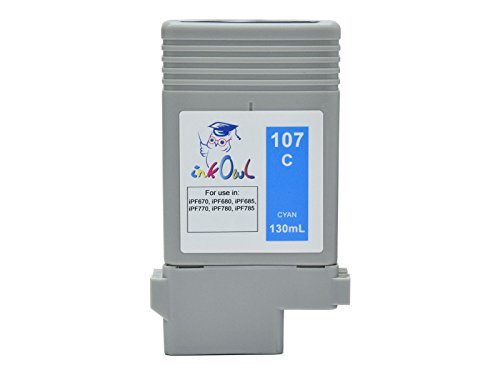 InkOwl - Compatible Ink Cartridge Replacement for CANON PFI-107C (130ml, cyan) - imagePROGRAF iPF670, iPF680, iPF685, iPF770, iPF780, iPF785 printers