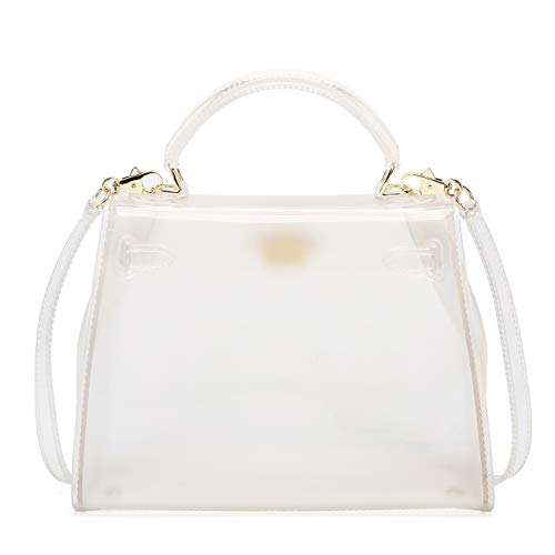 - Poxas Top-handle PVC Women Shoulder Bags Jelly Candy Color Women Crossbody Bag (Large, White)