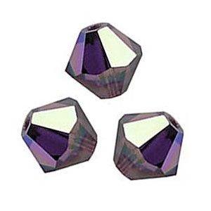 40 BICONE 4mm Swarovski AMETHYST AB 5301 Crystal Beads. ()