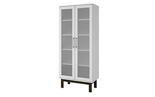 Manhattan Comfort Serra 2.0 Bookcase Collection Modern 5 Shelf Bookcase Display Case with 2 Glass Doors and Wooden Legs, White - White Display Cabinet