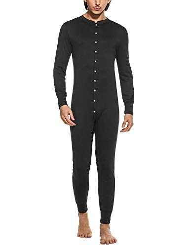 Hotouch Men's Mid Weight Double-Layer Thermal Union Suit Black S