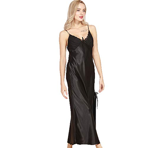 - Celltronic Women's Long Chemise Slip Lace Camisole Satin Nightgown Bridal Sleepwear (L, Black1)