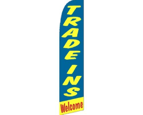 ALBATROS Trade Ins Welcome Blue Yellow Red Swooper Super Feather Advertising Flag for Home and Parades, Official Party, All Weather Indoors Outdoors