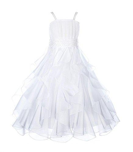 ekidsbridal Wedding Stunning Organza Spaghetti-Straps Pleated Ruffled Flower Girl Dress Easter Toddler Bridal Pageant 009