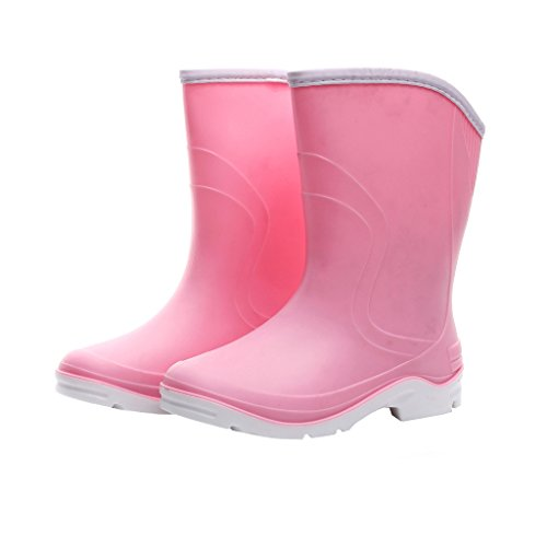 Pink Rubber Rain Boots - Kontai Women Half Calf Ankle Rubber Rainboots 2 Color Waterproof Boots for Garden Rain Round Toe Rainboots Size 7.5 Pink