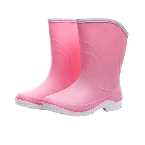 Kontai Women Half Calf Ankle Rubber Rainboots 2 Color Waterproof Boots for Garden Rain Round Toe Rainboots Size 7.5 Pink