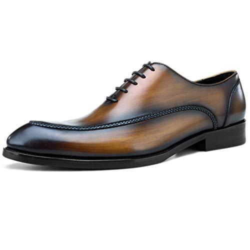 Empresarial De Oficina Vestir Cuero Punta Top Clásica Cordones Yellow Para Hombres Vaca Zapatos PdHYwd