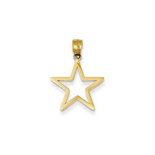 14k Solid Yellow Gold Star Charm (17mm x 15mm) 14k Yellow Gold Star Charm