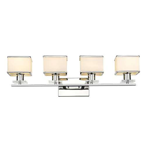 Victorian Bath Vanity - 4-Light Contemporary White Opal Glass Bath Vanity Wall Fixture