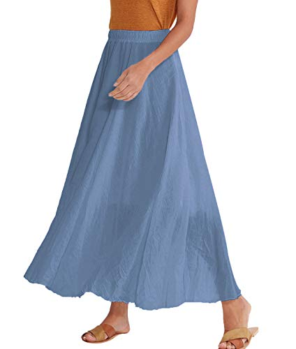 Amazhiyu Women Ankle Length Swing Skirt 37.4inch Cotton Linen Flowing Long Skirt Elastic Waist Boho Summer Autumn (Niagara Blue)