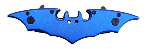 Batman Knife DUAL BLADES Folding Blade Spring Assisted BLUE 11