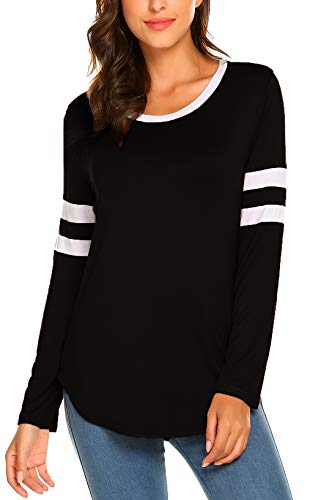 (SimpleFun Women Spring Long Sleeve Baseball Tee Shirts Casual Tops Crew Neck Striped Tunic Tshirts Blouses (XXL, Black))