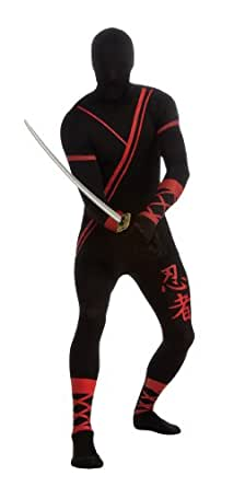 Rubie's Costume Adult Ninja 2nd Skin Zentai Super Suit, Black/Red, Medium Costume