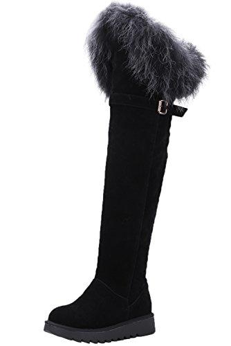 Botas altas de rodilla Mujer Ante sintética Hebilla Otoño Invierno Caliente Piel Negro Botas altas largas De BIGTREE Negro