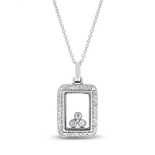 0.30 Ct. Natural Diamond Floating in Glass Rectangular Pendant in Solid 14k White Gold
