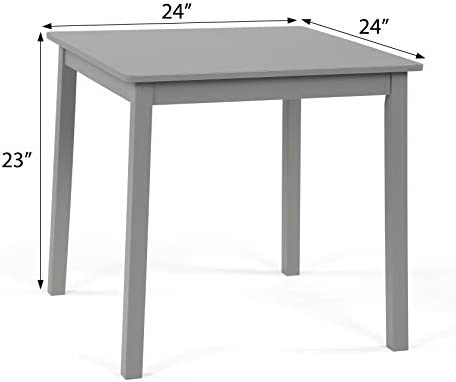 """Humble Crew Kids Wood Table & 2 Chairs Set 23"""" Tall, Grey"""
